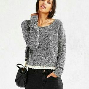 Urban Outfitters Kimchi Blue S Black/White Crop sweater with lace trim
